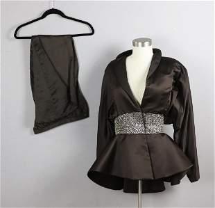 Ladies Silk and Rhinestone Evening Skirt Suit