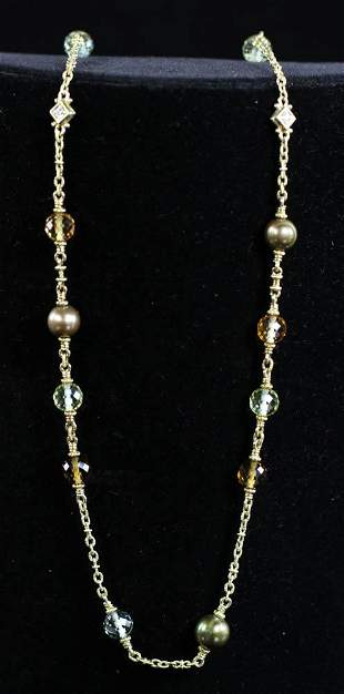 Judith Ripka 18k Pearl Diamond Necklace