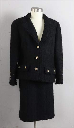 Chanel Black Two Piece Skirt Suit