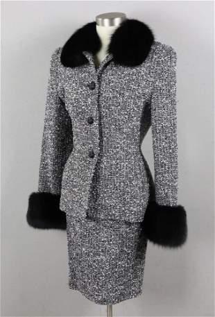 Fontana Couture Tweed Skirt Suit with Fur Collar