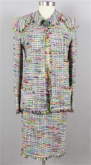 Chanel Boutique Multicolor Tweed Skirt Suit