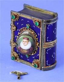Antique Enameled Music Box Automaton