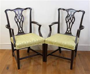 Pair of English Chippendale Style Armchairs