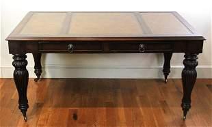 English Georgian Style Mahogany Library Desk