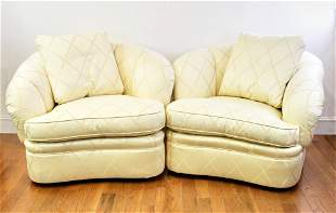Pair of Gold Upholstered Overstuffed Chairs