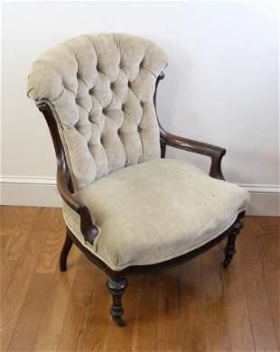 19thC Victorian Walnut Slipper Chair