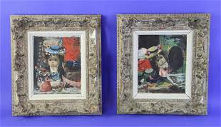 Calagno Signed Portraits of Young Girls