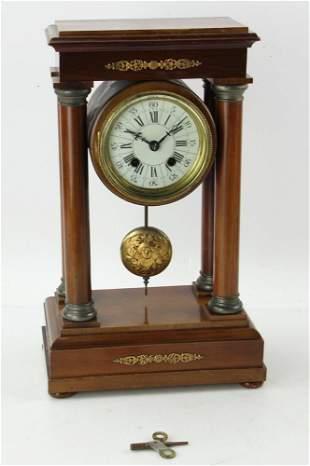 Antique Mahogany Pillar Clock
