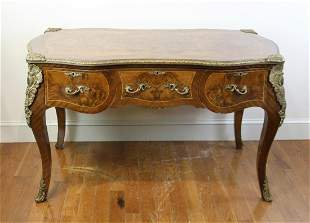 Louis XVI Style Burlwood Desk with Cane Back Chair