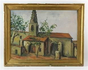 L Gia, Church View, Oil on Canvas