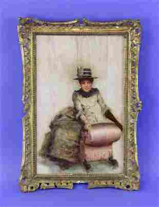 19thC Portrait of Sarah Bernhardt, Oil on Board