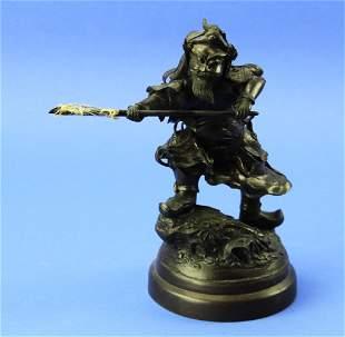 Meiji Period Bronze Sculpture of Warrior