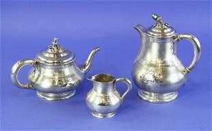 19thC Cartier 3-piece Silver Tea Set
