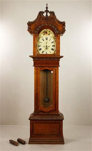 Late Victorian Fancy Carved Oak Tall Clock