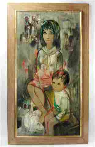 Signed Portrait of Mother and Child
