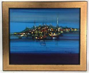 D Gnay Signed, Island View, Oil on Board