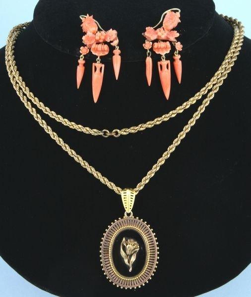 8006: Pair of earrings and one (1) pendant/locket