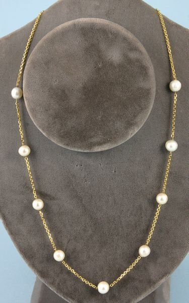 8012: Cultured pearl necklace w/14k yellow gold clasp