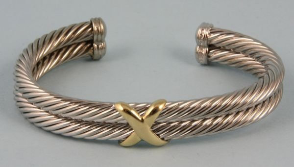 8013: 14k yellow gold and sterling silver bracelet