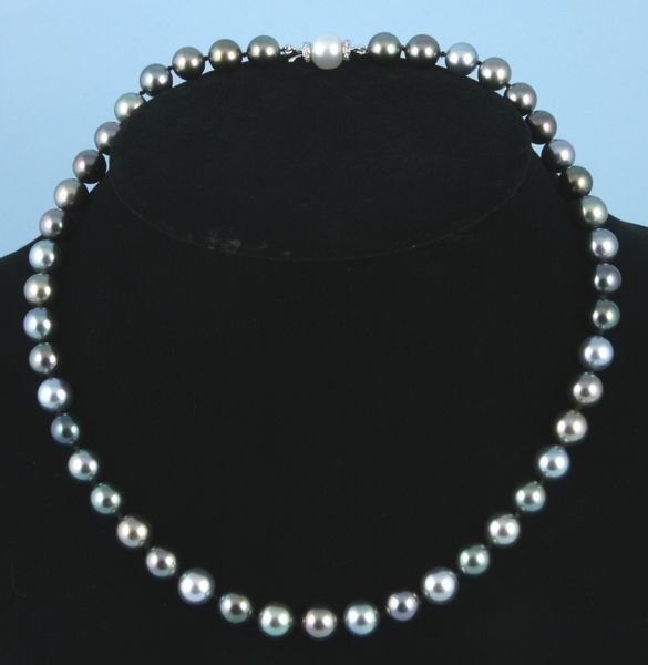 8014: South sea pearl necklace w/ 14k gold and diamond