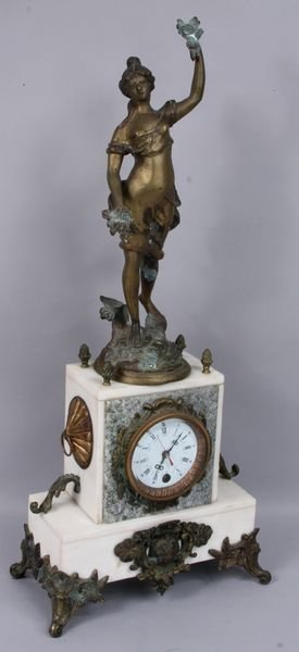 8015: 19th C. French white marble and bronze clock