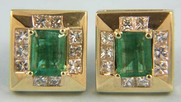 8019: Emerald, princess cut diamonds, and 14k yellow go