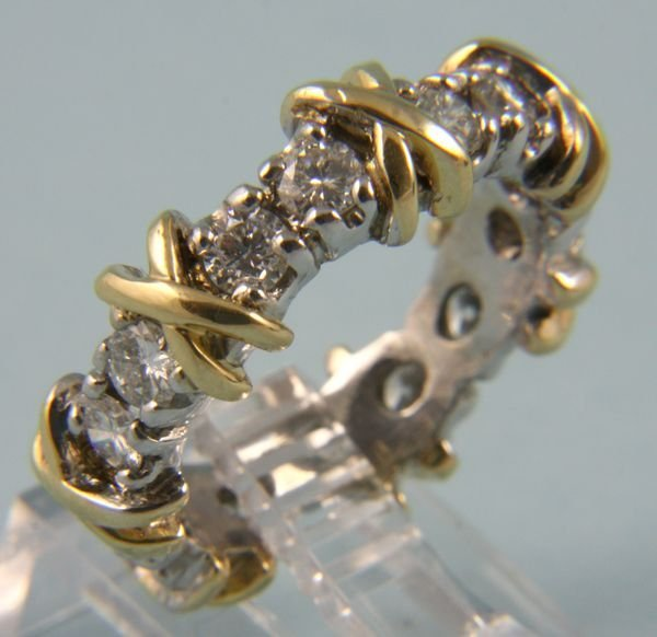 8020: 14k white and yellow gold diamond eternity band