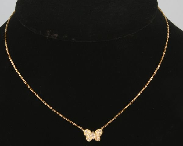 8021: 14k yellow gold and diamond butterfly pendant