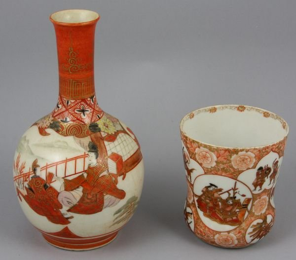 22: 19th C. Japanese Kutani ware vase and cup