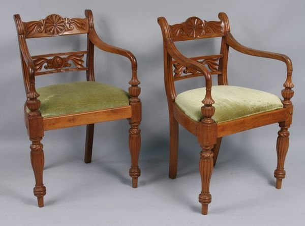 1004: Pr. of 19th C. Anglo-Indian arm chairs