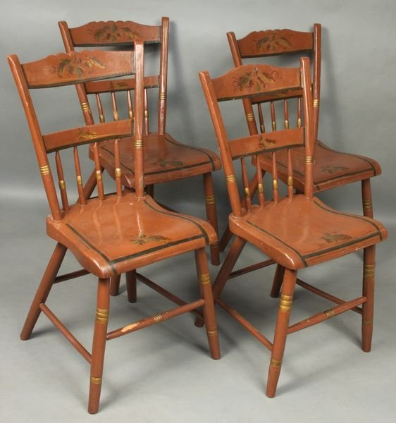 1008: Set of (4) 19th C. Country Painted Chairs
