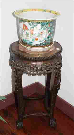 19th Century Chinese Carved Wood Stand with Jardiniere
