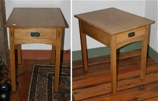 Pair of L. & J.G Stickley Arts & Crafts Oak Lamp Tables