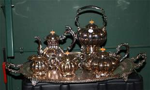 Crown Silver Co. Five Piece Silver Plate Tea Service