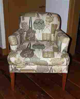 Custom Upholstered Armchair, Ladies Hand Bag Motif