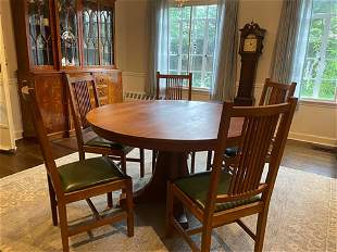 Stickley Cherry Dining Set, Signed