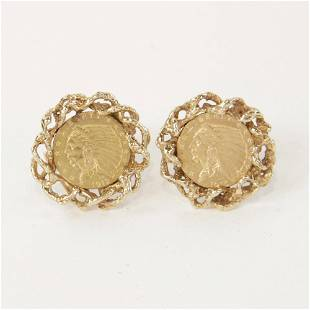 14kt Gold Cufflinks and Two Dollar Gold Coins