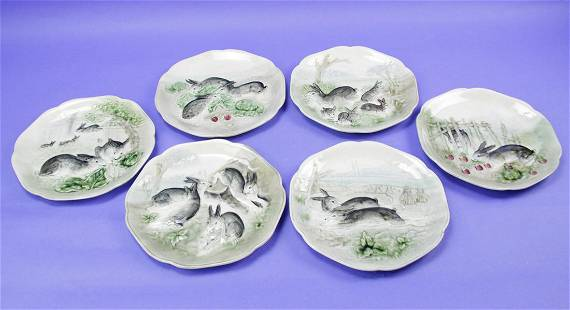 French Higgins and Seiter Majolica Plates