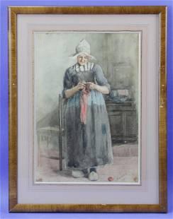 Watercolor of a Dutch Women