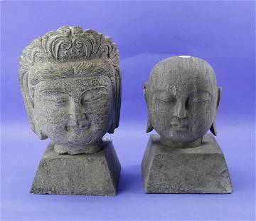 Stone Carved Faces, Pair