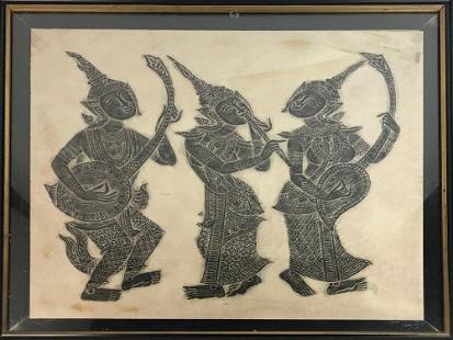 Thai Temple Rubbing of Stone Carving