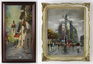 Lot of two T. Attinger, European View and Paris View