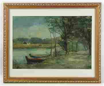 Sergei Shishko, River View with Boats