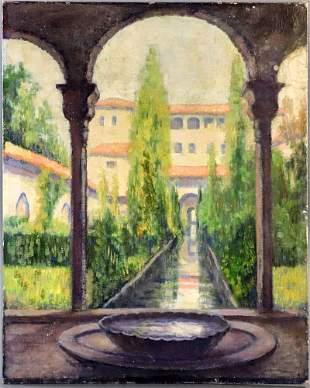 American School, Spanish Villa, Oil on Canvas Board
