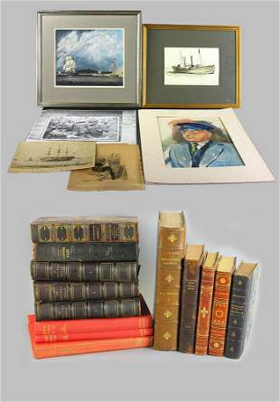 Nautical Related Artwork and Collection of Books