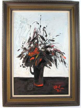 P. Gilet Floral Still Life Oil on Canvas
