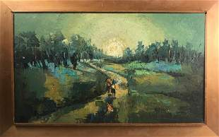Asian Style Landscape with Figures, Oil on Board