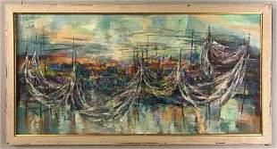 Elsa Wein, Harbor Scene, Oil on Canvas