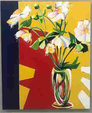 Contemporary Floral Still Life, Oil on Canvas