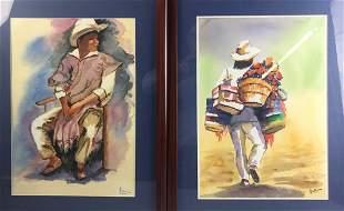 S. Villasona, Two Portraits, Watercolor
